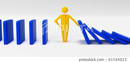 Man figure stopping the domino effect. 3D rendering 61584823