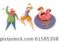 Female Character Doing Different Seasonal Activities Vector Illustrations Set 61585308