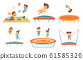Little Kids Jumping on Trampoline Vector Illustrations Set. Smiling Children Having Fun Outdoors 61585326