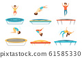 Kids Jumping on Trampoline Vector Illustrations Set. Sportive Kids Exercise and Entertainment 61585330