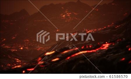 Red Orange vibrant Molten Lava flowing onto grey 61586570