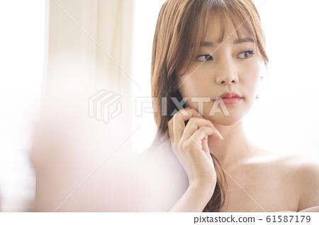 여자 미용 꽃 61587179