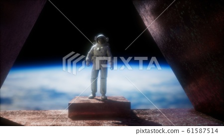 8K astronaut on the space observatory station near 61587514