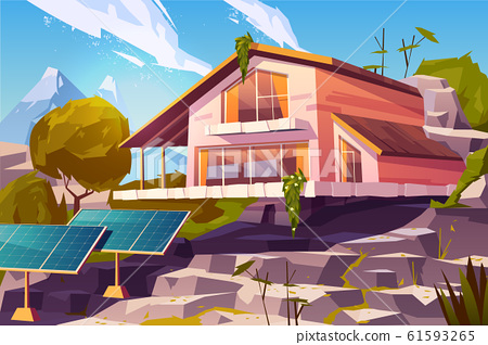 Country house in mountains cartoon 61593265