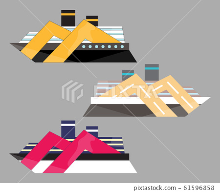 Version icon of cruise liner. Ship at sea, travel, water transport, boat and vessel. 61596858