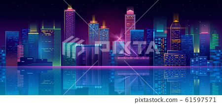 neon megapolis background with buildings, skyscrapers 61597571