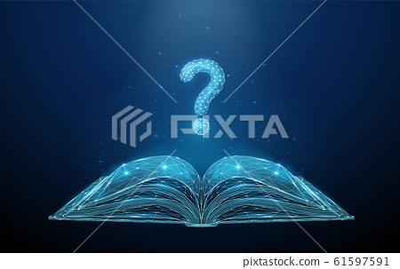 Abstract low poly open book with question mark. 61597591