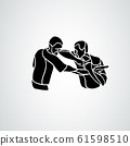 Krav maga silhouettes. Two abstract fighters pictogram 61598510