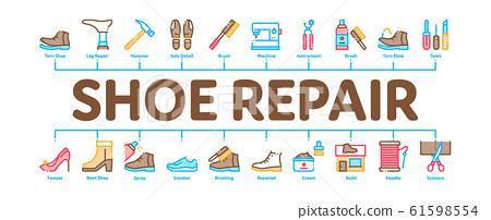 Shoe Repair Equipment Minimal Infographic Banner Vector 61598554