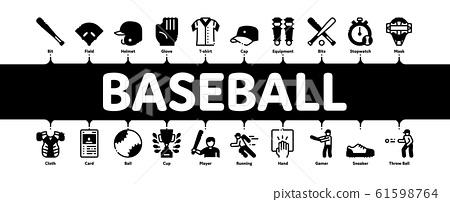 Baseball Game Tools Minimal Infographic Banner Vector 61598764