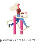 Woman training on exercise machine at outdoor gym. 61598793