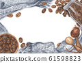 Scattered coffee beans from glass bottle and bowl, ground powder on wooden spoon with knitted scarf. 61598823