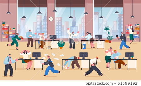 Chaos in Office Stressed Frustrated Employees Work 61599192