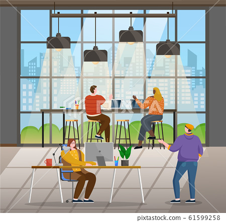 Coworking People, Office Interior with Workers 61599258