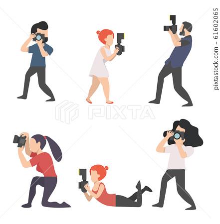 Photographers Taking camera vector Set 61602065