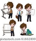 Set Cute Architect cartoon Character. 61602899