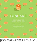 Pancake with honey syrup butter 3D isometric pattern, Breakfast bakery concept poster and social banner post square design illustration isolated on green background with copy space, vector eps 10 61603129
