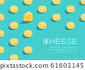 Gouda cheese 3D isometric pattern, Dairy product concept poster and social banner post horizontal design illustration isolated on green background with copy space, vector eps 10 61603145