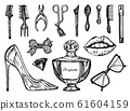 Makeup Tools Set. Doodle A collection of female tools and elements for a beauty salon. Hand drawn 61604159