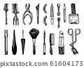 Makeup Tools Set. Doodle A collection of female elements for eyebrows, eyes and face and beauty 61604173