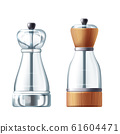 3d realistic glass salt shaker, peppermill 61604471