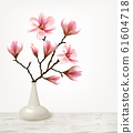 Branches of Pink Magnolia in Vase. Vector 61604718