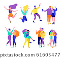 Friends people young women, men, girls, boys collection set vector illustration isolated. 61605477
