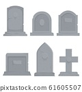 Collection of different various gravestones vector graphic illustration 61605507