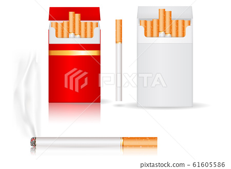 Pack of cigarettes. White and red paper packs 61605586