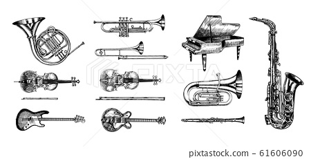 Jazz classical wind instruments set. Musical Trombone Trumpet Flute Bass guitar Semi-acoustic French 61606090