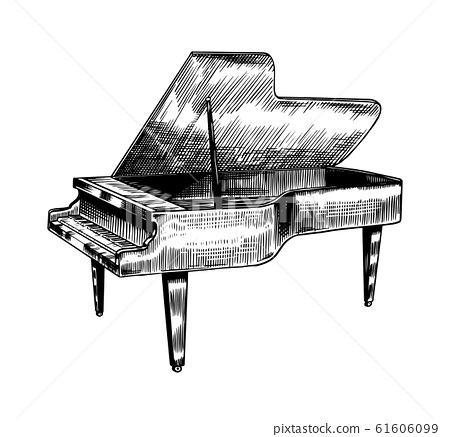 Grand piano in monochrome engraved vintage style. Hand drawn sketch. Musical jazz classical keyboard 61606099