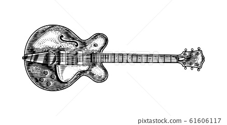 Semi-acoustic jazz bass guitar in monochrome engraved vintage style. Hand drawn sketch for Rock 61606117