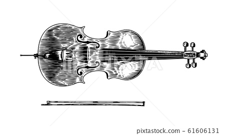Jazz cello and bow in monochrome engraved vintage style. Hand drawn violoncello sketch for blues and 61606131