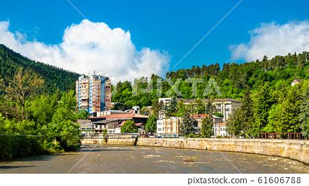 Panorama of Borjomi with the Kura river, Georgia 61606788