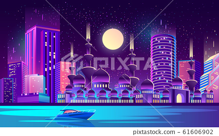 night city background with muslim mosque 61606902