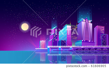 background with night city in neon lights 61606905