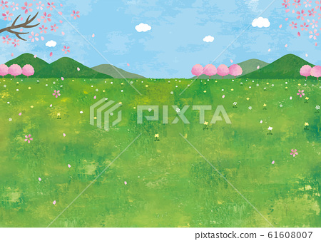 Mountain, meadow and cherry blossom landscape watercolor 61608007