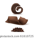 3d realistic brown chocolate shavings, fragments 61610725