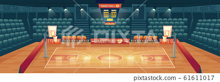 cartoon background of empty basketball court 61611017