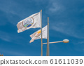 The flag of Agia Napa municipality and the flag of Cyprus. Flags on the flagpole and the stereet lamp post. The wind inflates the flag. 61611039