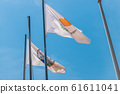 The national flag of Cyprus. Light flag on the flagpole. The summer wind flutters the flag. 61611041