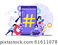 Vector illustration, phone with hashtag sign 61611078