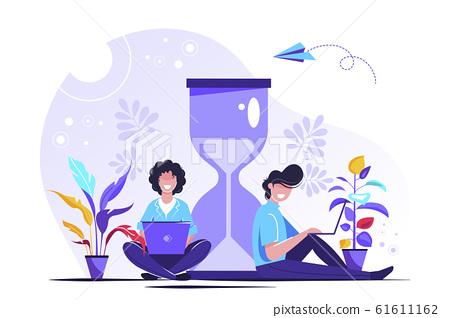 Vector illustration, hourglass on white  61611162