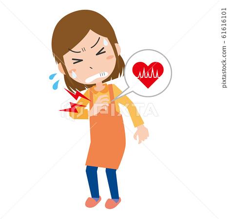 Woman chest pain heart electrocardiogram heart rate heart disease 61616101