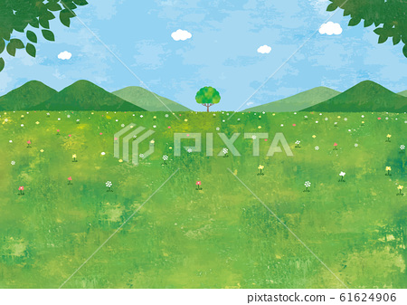鬱鬱蔥蔥的風景一棵樹水彩 61624906
