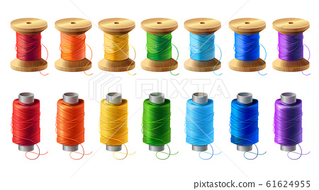 set of colored thread spools for sewing 61624955