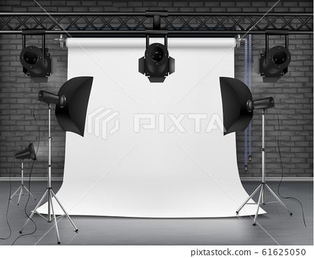 empty photo studio with lighting equipment 61625050
