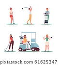 Woman golf player set with sport equipment flat vector illustration isolated. 61625347