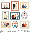 Stages of family concept with relatives photos flat vector illustration isolated. 61625538