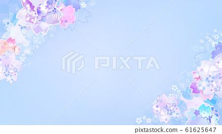 배경 - 일본식 - 일본식 디자인 - 일본 - 종이 - 벚꽃 - 블루 61625647